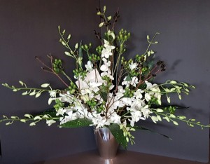 Sympathy white orchids black pussywillow flower arrangement